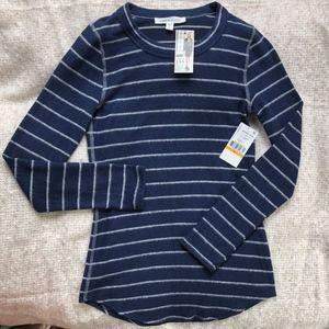 Karen Kane Blue Striped Crewneck Sweater